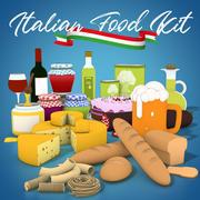 意大利食品包 3d model