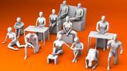 10坐着和3跪着的人Lowpoly 3D模型 3d model