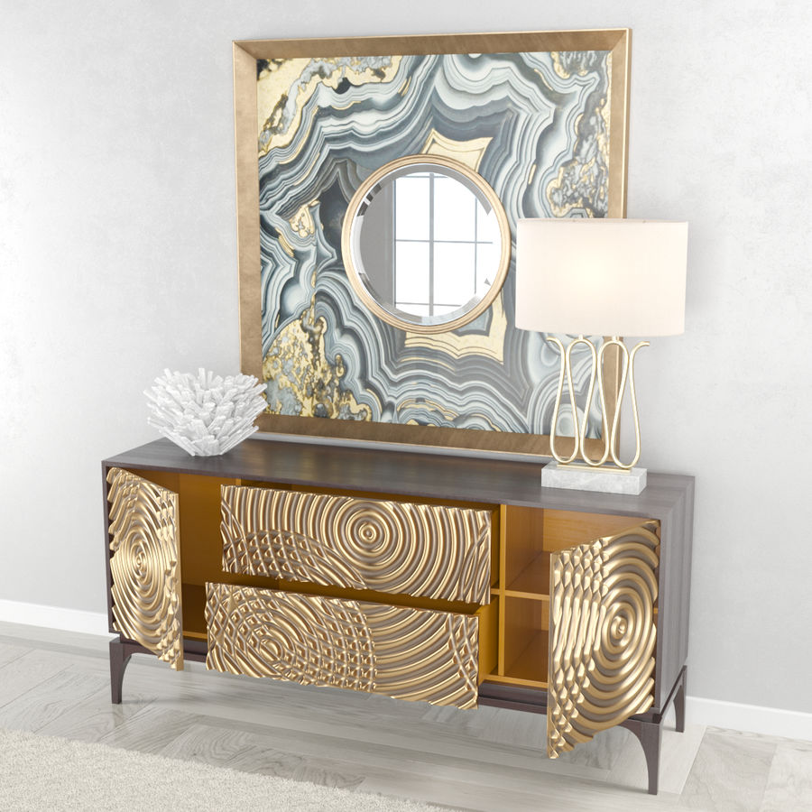 John Richard Ripples Sideboard royalty-free 3d model - Preview no. 4
