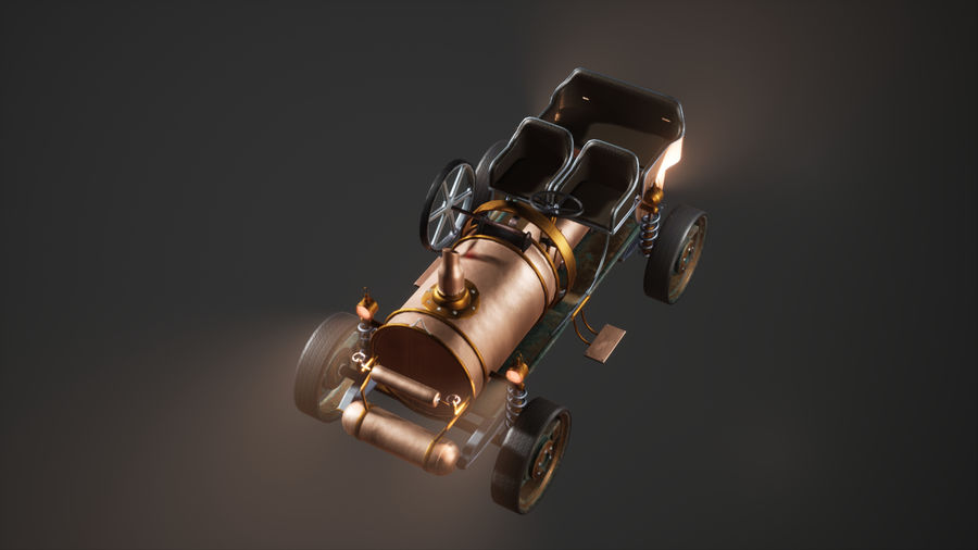 Stary pojazd / samochód SteamPunk royalty-free 3d model - Preview no. 7