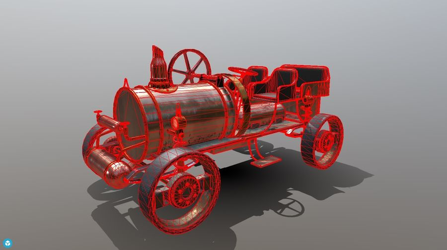 Stary pojazd / samochód SteamPunk royalty-free 3d model - Preview no. 11