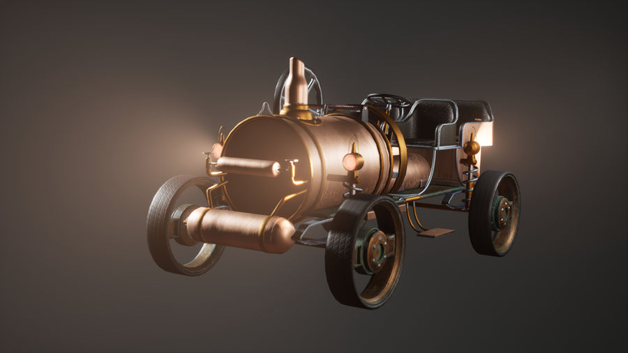 Stary pojazd / samochód SteamPunk royalty-free 3d model - Preview no. 5