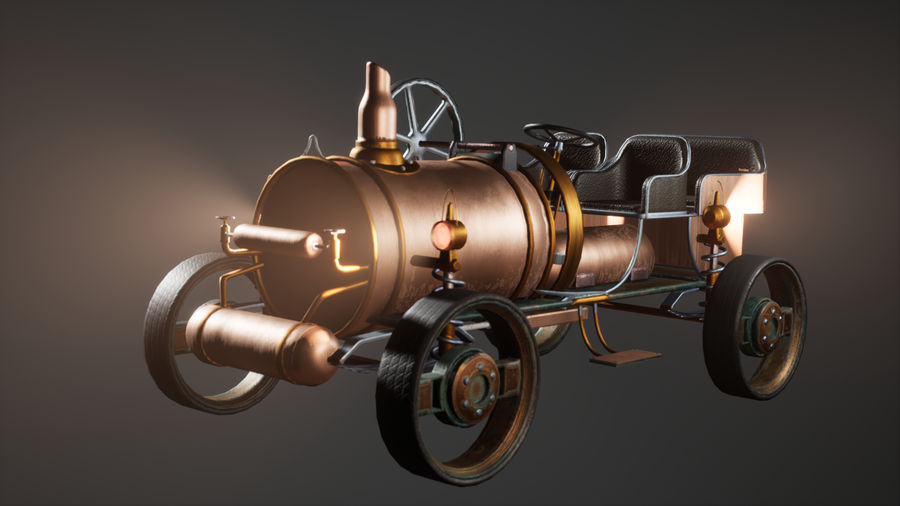 Stary pojazd / samochód SteamPunk royalty-free 3d model - Preview no. 6
