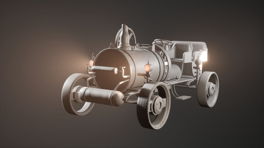 Stary pojazd / samochód SteamPunk royalty-free 3d model - Preview no. 10