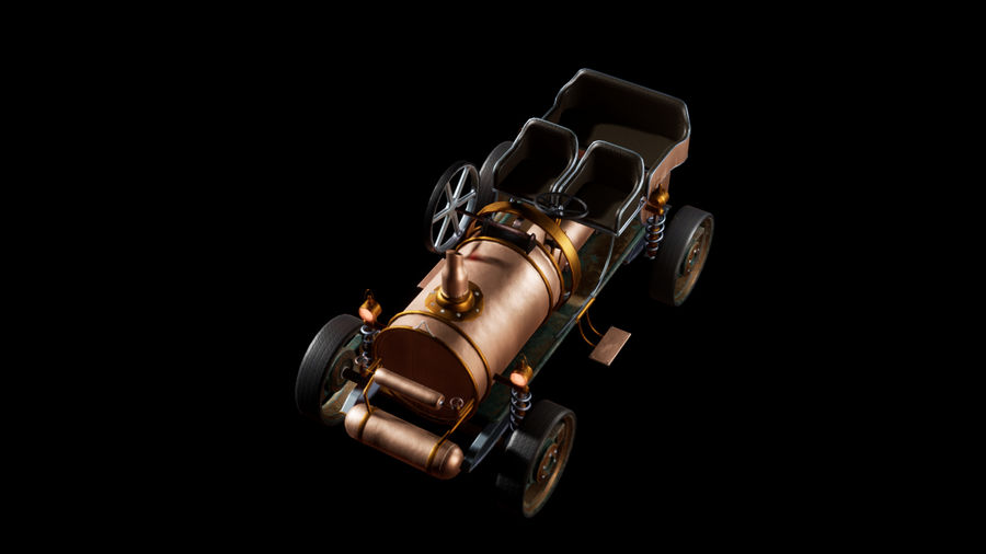 SteamPunk gammalt fordon / bil royalty-free 3d model - Preview no. 3