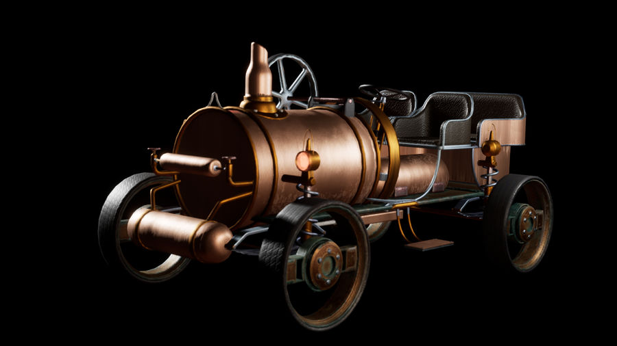 SteamPunk gammalt fordon / bil royalty-free 3d model - Preview no. 2