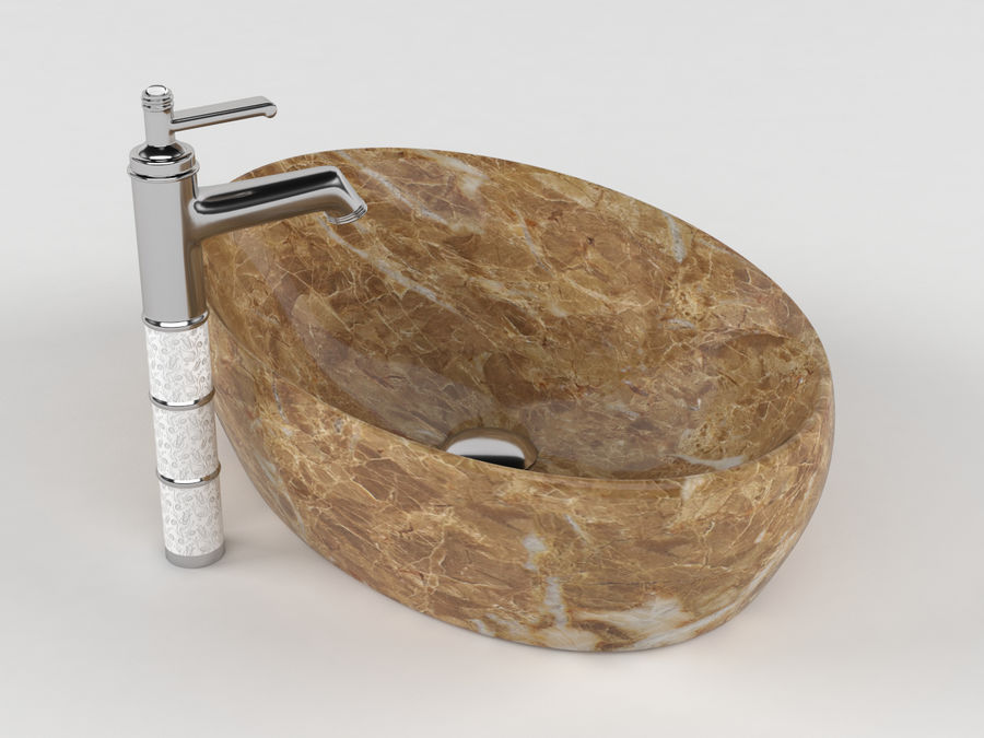 Bathroom Sink with Faucet royalty-free 3d model - Preview no. 7