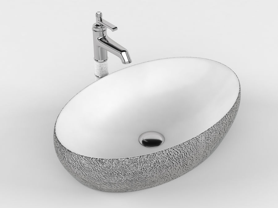 Bathroom Sink with Faucet royalty-free 3d model - Preview no. 2