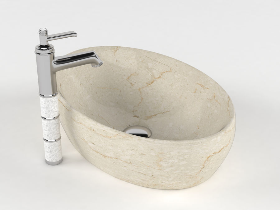 Bathroom Sink with Faucet royalty-free 3d model - Preview no. 10