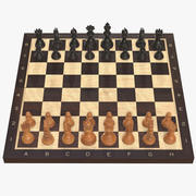 Chess board game pieces 3d model
