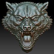 Cabeça de lobo imprimível 3d model