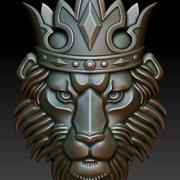 皇冠上的可印刷狮子 3d model