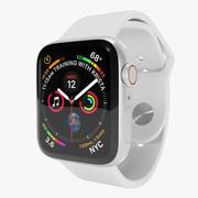 Серебряный алюминиевый корпус Apple Watch серии 4 с белой спортивной лентой 3d model