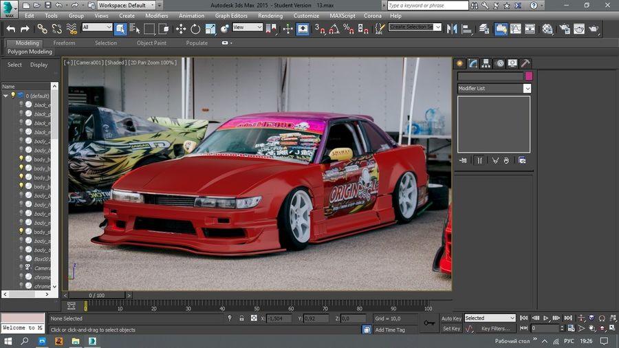 Nissan Silvia S13 Origem Labo Kit Bodu Completo royalty-free 3d model - Preview no. 5