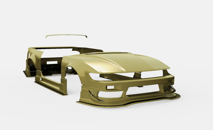 Nissan Silvia S13 Origem Labo Kit Bodu Completo royalty-free 3d model - Preview no. 1