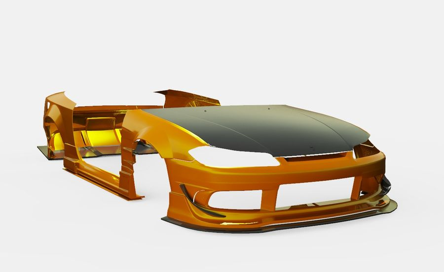Nissan Silvia S15 Origem Labo Kit completo Bodu 3D royalty-free 3d model - Preview no. 1