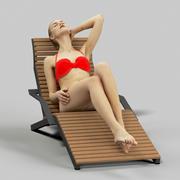 Barbara güzel bir kadın yalan üzerinde bir tembel içinde onu kırmızı bikini 3d model