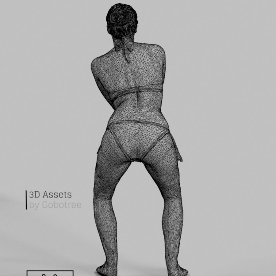 Dominica Pretty Woman giocando a pallavolo Digging the Ball royalty-free 3d model - Preview no. 7