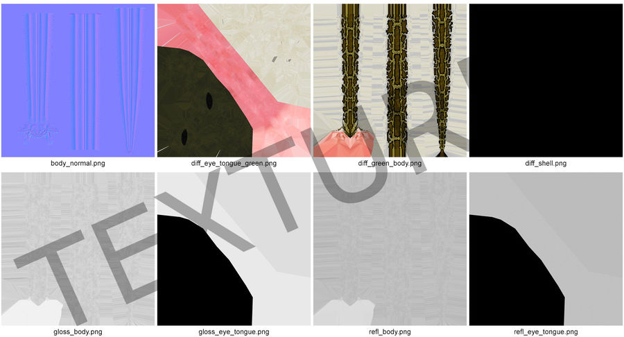 Pose enroulée de serpent vert python royalty-free 3d model - Preview no. 17