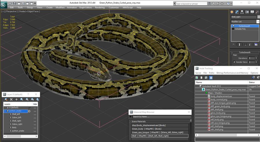 Pose enroulée de serpent vert python royalty-free 3d model - Preview no. 20