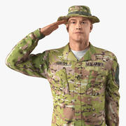 Modello 3D di pelliccia di saluto militare del soldato dell'esercito americano 3d model
