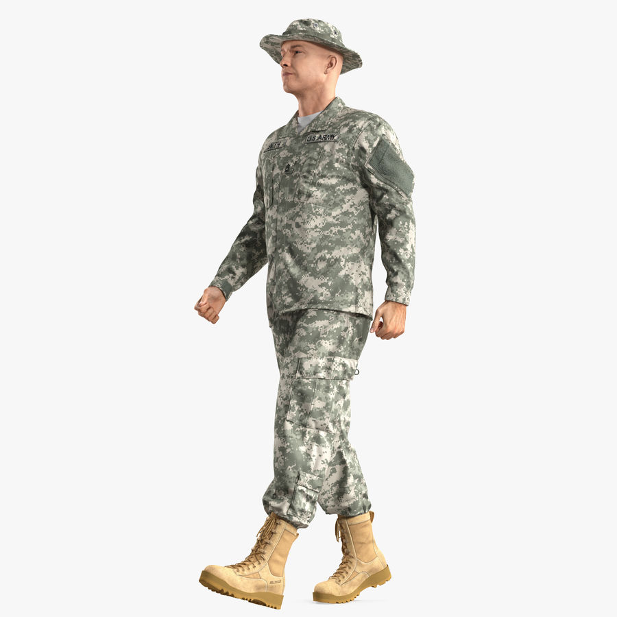 US Soldier ACU Walking Pose Fur 3D Model royalty-free 3d model - Preview no. 1