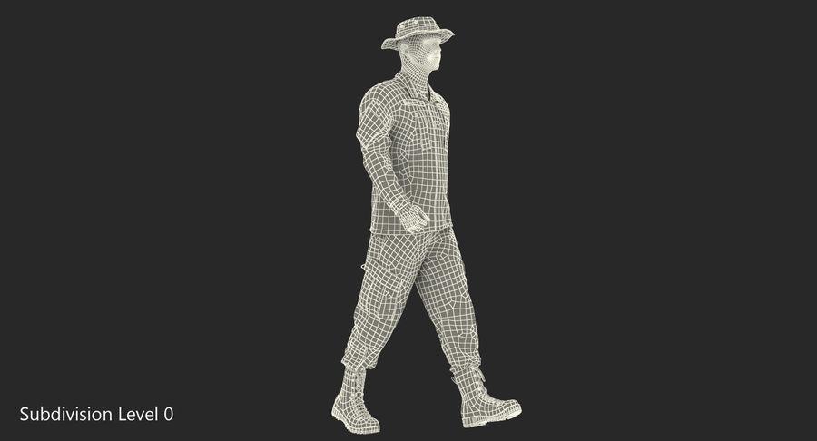 US Soldier ACU Walking Pose Fur 3D Model royalty-free 3d model - Preview no. 35