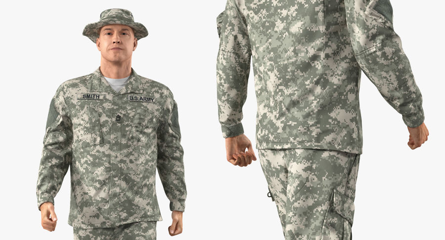 US Soldier ACU Walking Pose Fur 3D Model royalty-free 3d model - Preview no. 32