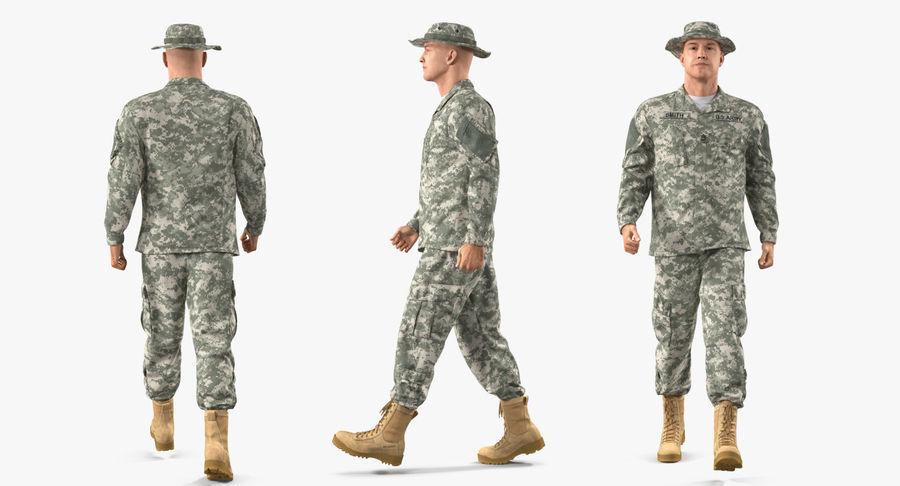 US Soldier ACU Walking Pose Fur 3D Model royalty-free 3d model - Preview no. 16