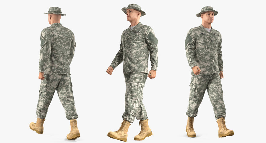 US Soldier ACU Walking Pose Fur 3D Model royalty-free 3d model - Preview no. 4