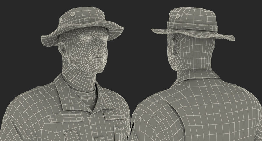 US Soldier ACU Walking Pose Fur 3D Model royalty-free 3d model - Preview no. 45