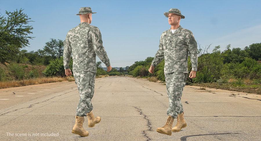 US Soldier ACU Walking Pose Fur 3D Model royalty-free 3d model - Preview no. 6