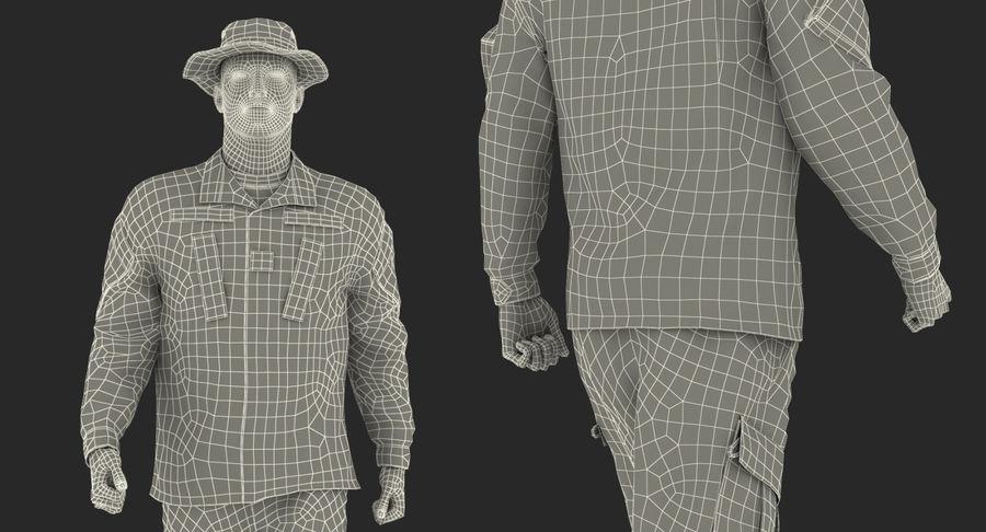 US Soldier ACU Walking Pose Fur 3D Model royalty-free 3d model - Preview no. 47
