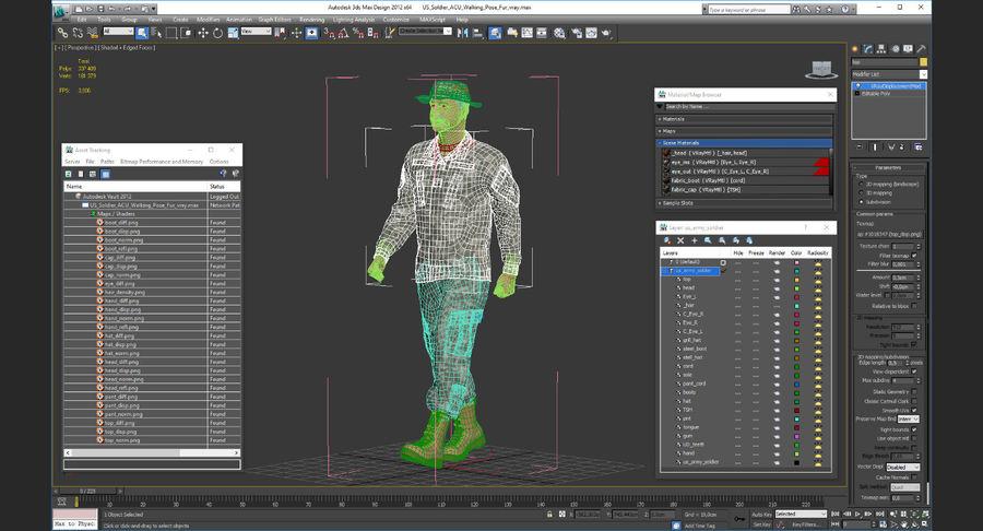 US Soldier ACU Walking Pose Fur 3D Model royalty-free 3d model - Preview no. 44