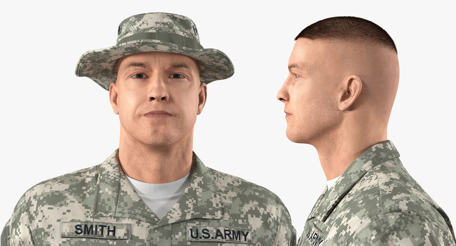 US Soldier ACU Walking Pose Fur 3D Model royalty-free 3d model - Preview no. 10