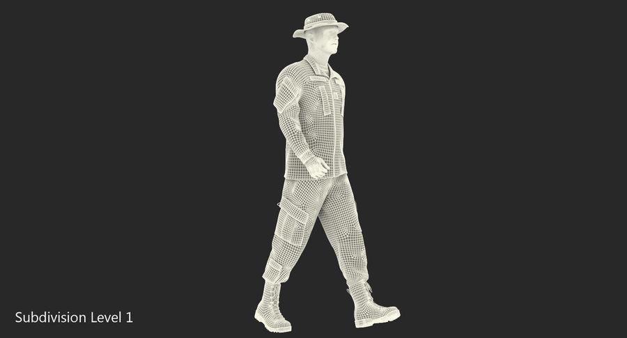 US Soldier ACU Walking Pose Fur 3D Model royalty-free 3d model - Preview no. 37