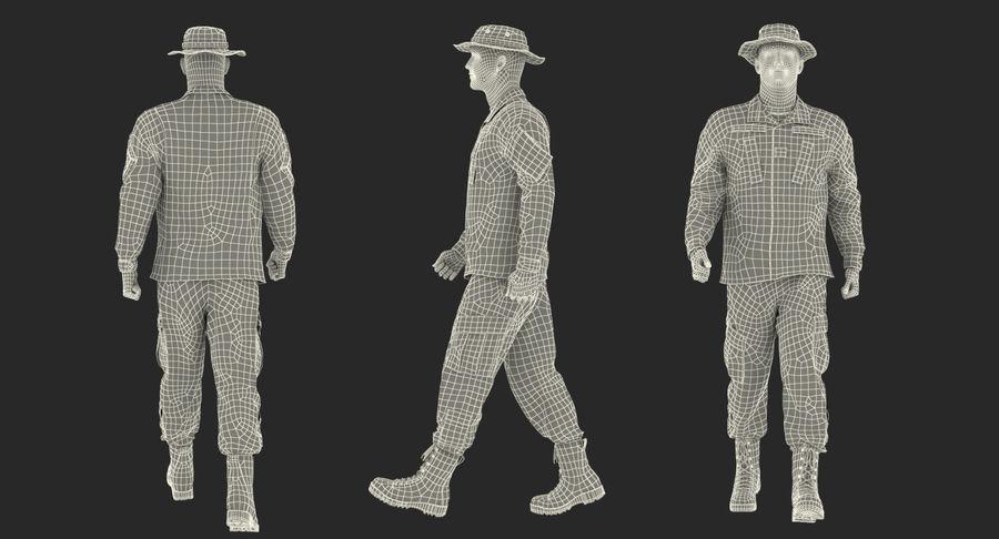 US Soldier ACU Walking Pose Fur 3D Model royalty-free 3d model - Preview no. 55