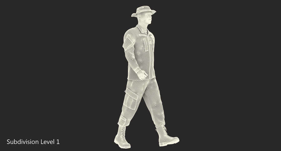 US Soldier ACU Walking Pose Fur 3D Model royalty-free 3d model - Preview no. 38