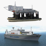 Sea Launch Platform and Ship 3D Models Collection 3d model