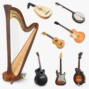 Kolekcja modeli 3D instrumentów strunowych 3 3d model