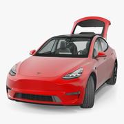 Tesla Model Y Red Rigged 3D模型 3d model