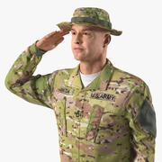 Soldato dell'esercito americano Camo Saluto modello 3D 3d model