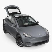 Tesla Model Y Silver Rigged 3D模型 3d model