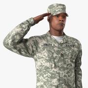 Modello 3D di posa di saluto militare del soldato dell'esercito americano 3d model