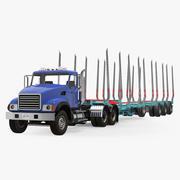 빈 벌목 트레일러가있는 트럭 3D 모델 3d model