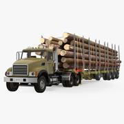 Lastbil med loggtrailer 3d model