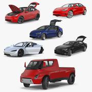 Kolekcja modeli 3D samochodów z osprzętem Tesla 5 3d model
