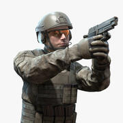 Realtime Rigged Soldier 3d model