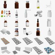 Medicinska piller flaskor blåsor box mockup 3d model
