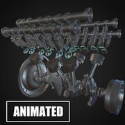 v6 Engine Animated 3d model